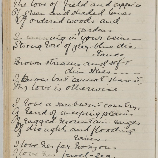 'Core of My Heart' Manuscript (1). © State Library of New South Wales