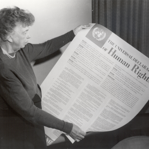 Eleanor Roosevelt with the English-language text of the Universal Declaration of Human Rights. © The George Washington University
