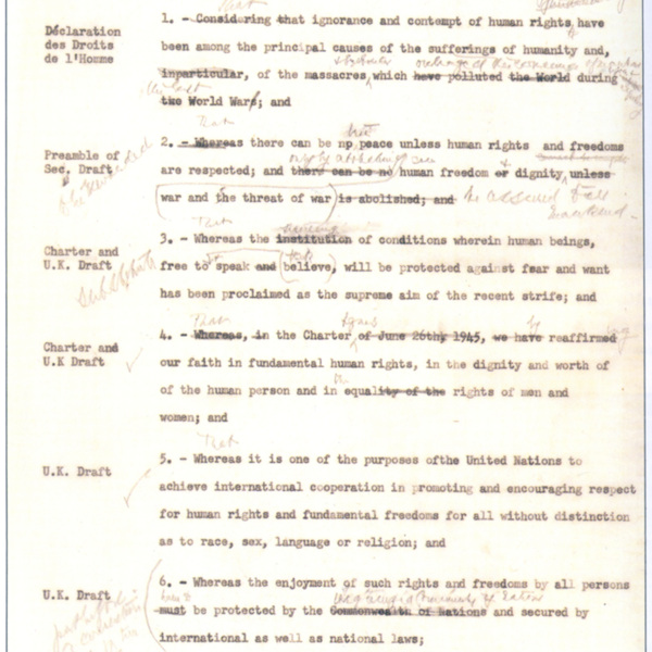A working draft of the preamble to the Universal Declaration of Human Rights, with Eleanor Roosevelt_s handwritten notations in the margins. © The George Washington University